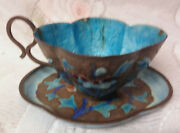 Antique Chinese Export Copper Metal Enamel Floral Tea Cup And Saucer