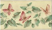 Butteflies Vines And Leaves Tan Edges Wallpaper Border Wall Decor Nature