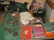 Huge 1970s Assortment Of Girl Scout Brownie Items - Dresses, Camping, Sashes