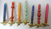 Old Lot Mercury Glass Christmas Tree Clips 7 Icicles Candles Hand Blown Twisted