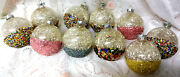 Old Usa Glass Silver Foil Icicle Glitter Wash Balls Christmas Tree Ornaments