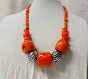 Antique Runway Couture Heavy Natural Untreated Salmon Pink Coral Barrel Necklace