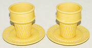 Dept 56 - Set Of 2 - Yellow - Ice Cream Cone And Saucer Sets - 4 Pc - Collectible