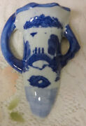 Antique Chinese Pictorial Blue And White Porcelain Wall Pocket Vase King Dynasty