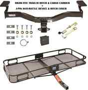 2009-2010 Ford Edge Trailer Hitch + Cargo Basket Carrier + Silent Pin Lock Tow