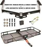 2008-12 Jeep Liberty Trailer Hitch + Cargo Basket Carrier + Silent Pin Lock Tow