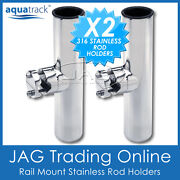 2 X Rail Mount 316 Stainless Steel Clamp-on Rod Holders - Boat Fishing Marine