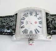 New-michele 112 Diamonds Silverblack Leather Band Roman Numeric Mop Dial Watch