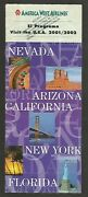 Brochure American West Airlines Information And Map Of Route 2001/2