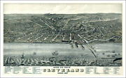 Cleveland, Ohio 1877 Illustrated Aerial Map Vintage Giclee Poster 20x32 Reprint