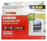 12 Thermwell V73/3h Frost King 3 Pk 42 X 62 Ind Shrink Window Insulator Kits