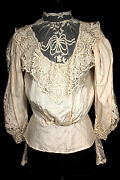 Rare Antique French Victorian Silk And Hand Made Lace High Neck Blouse Sz 36-38