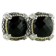 18k And Sterling Silver Cushion Black Onyx Diamond Omega Clip Earrings Ace07/20-on