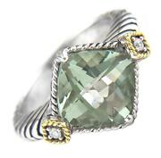 Andrea Candela 18kt And Sterling Silver Diamond Green Amethyst Ring Acr233/05-ga