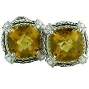 18kt And Sterling Silver Cushion Citrine Diamond Omega Clip Earrings Ace07/20-c