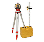 Topcon Rl-h5a Rotary Laser Kit Self Leveling 16and039 Grade Rod Inches And Tripod