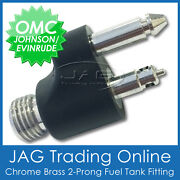 Chrome Brass Fuel Tank End Fitting For Johnson Evinrude Omc - Boat/outboard Line