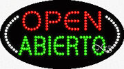 New Open Abierto 27x15x1 Oval Solid/animated Led Sign W/custom Options 24464