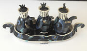 LINDA SHUSTERMAN STUDIO ART POTTERY 4 PC WHIMSICAL CONDIMENT SET