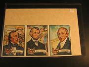 1972 Topps Us Presidents 3 Card Uncut Strip Abe Lincoln