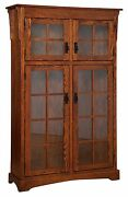 Amish Solid Wood Bookcase Mission Arts And Crafts Glass Door 46 X 72