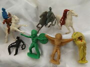 Vintage Cowboy And Indian Plastic Toy Soldiers Horses