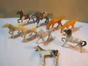 Old Plastic Toy Horses Figures Lot Of 9 Misc Horses T