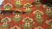 Antique Cotton Fabric Twill Large Floral Chintz On Turkey Red 26 Wide, 1 Yard