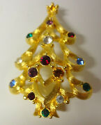Vintage Signed Monet Christmas Tree Gold Tone Color Rhinestone Pin Brooch