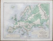 1853 Genuine Antique Map Mountains Plains And Valleys Of Europe Johnston