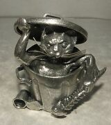 New Cat In A Garbage Basket Pewter Michel Laude