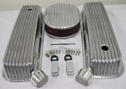 Big Block Chevy Finned Valve Cover Set W 12 Washable Air Cleaner And Breather Pcv