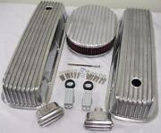Big Block Chevy Finned Valve Cover Kit W 12 Washable Air Cleaner And Breather Pcv