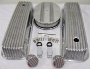Big Block Chevy Finned Valve Cover Kit W 12 Air Cleaner And Breather Pcv 454 502