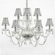 Empress Crystal Tm Chandelier Lighting W/ Chrome Sleeves And Crystal Shades