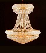 36 Large Lead Crystal Gold Chandelier Palace Hallway Lighting Fixture