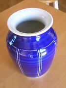 Vintage Antique Blue And White Studio Pottery Vase Signed 3 Lines Crossed Japanese