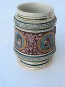Antique German Germany Beer Stein Tankard Hand Painted Portraits Famous People