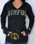 Sinful By Affliction Superfly Women's 2 Button Pullover Hood Sweatshirt - S1705