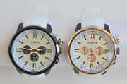 New-geneva White Silicone,large Numbers,dial 3d Black Case Watch