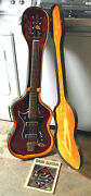 Hagstrom H8 Bass Guitar 1967 Cherry Red Chip Board Case