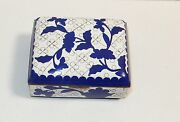 Old Chinese Cloisonne Enamel White And Blue Floral Humidor Footed Jar Box