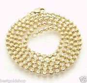 3mm Solid Half Moon Diamond Cut Bead Ball Chain Necklace Real 10k Yellow Gold