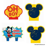 Mickey Mouse Cake Party Candle Birthday Cupcake Decoration Supplies Minnie X4 Nw