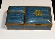 Old Chinese Cloisonne Turquoise Enamel Three Sided Match And Humidor Box