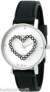 New Geneva Black Silicone Band.whit Dial Crytals Heart Round Dial Watch