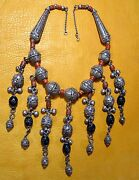 Antique Yemen Bedouin Ethnic Silver Filigree Wedding Necklace W/ Coral And Dangles