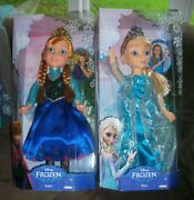 Lot Of 2 Disneyand039s Frozen Doll Set 18 Inch Queen Elsa And Princess Anna Sold Out