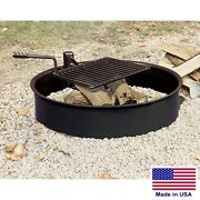 Fire Ring And Cooking Grate - 32 - Steel - Heavy Duty Grade - Outdoor - Campfire