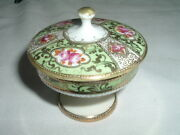 Vintage Petite Nippon Vase Candy Dish W Hand Painted Flowers Gold Trim And Lid